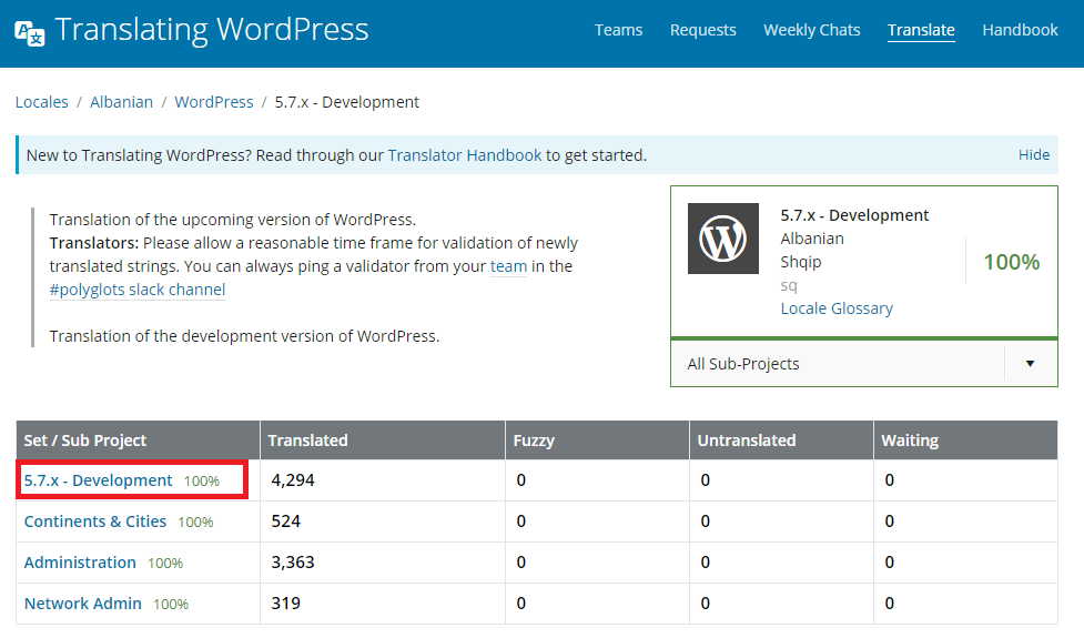 translating WordPress